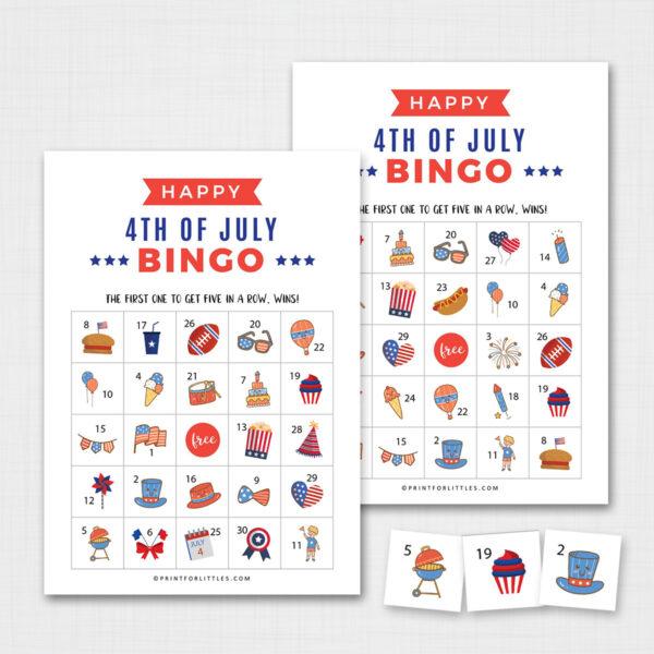 Patriotic 4th of July Bingo Game for Kids