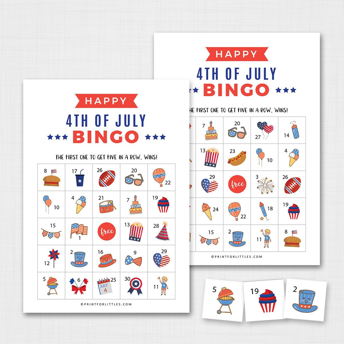 Patriotic 4th Of July Bingo Cards Printable