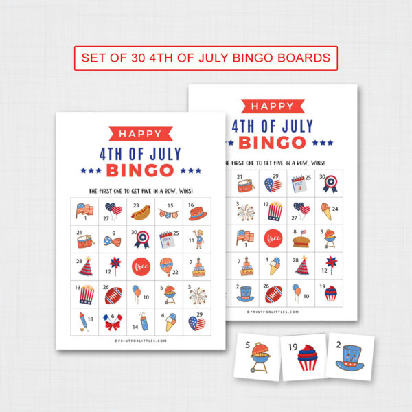 Printable 4th of July Bingo Game Cards for Kids