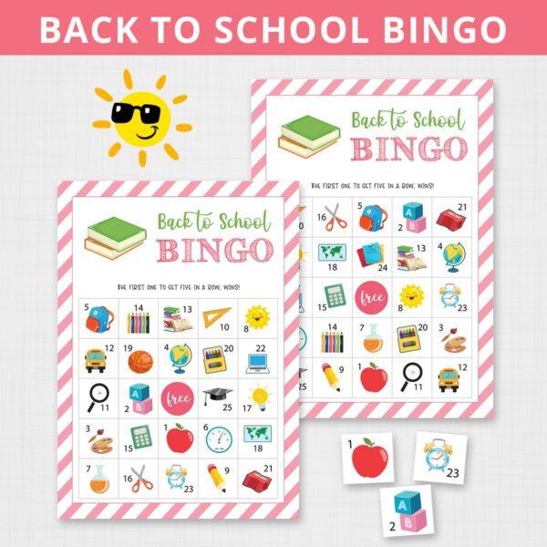 Printable Back to School Bingo Game for Kids