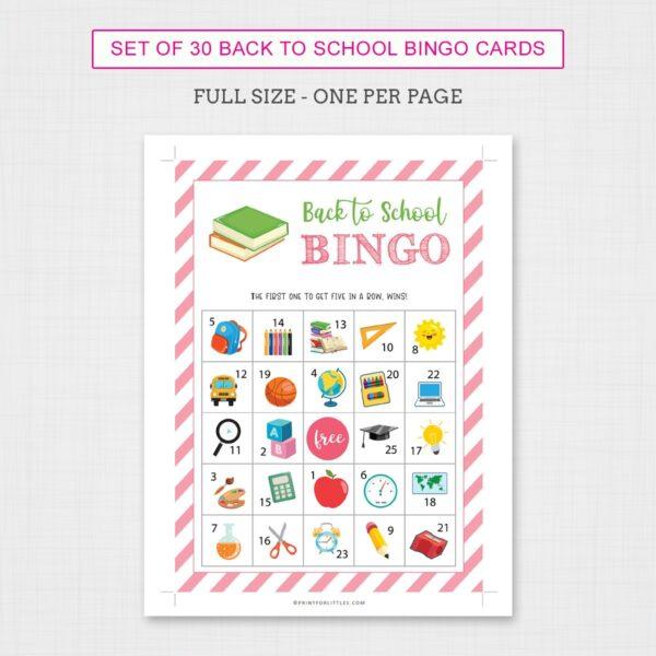 Back to School Bingo Game for Kids Printable | Fun Back to School Activities for Kids - Full Size