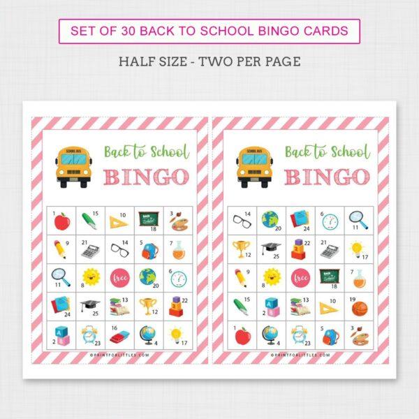 Back to School Bingo Game for Kids Printable | Fun Back to School Activities for Kids - Half Size 2 per page