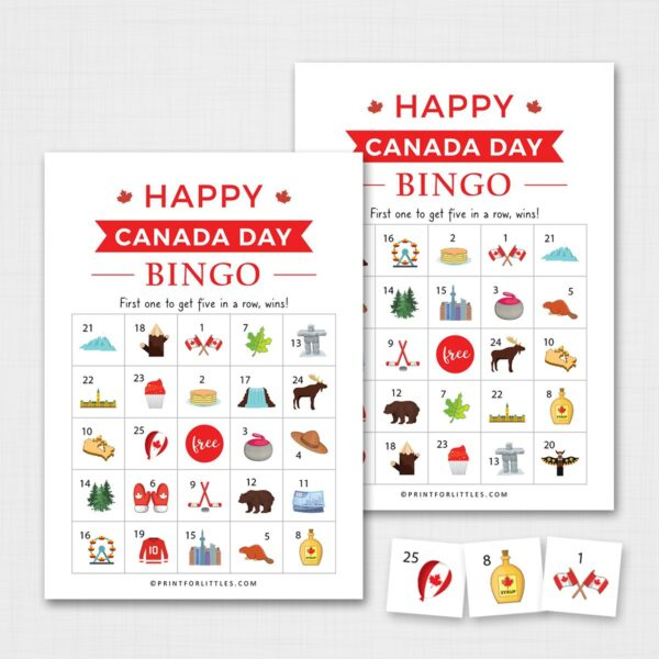 Printable Canada Day Bingo Game for Kids