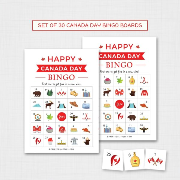 Canada Day Bingo Game for Kids Printable | Fun Canada Day Activities for Kids