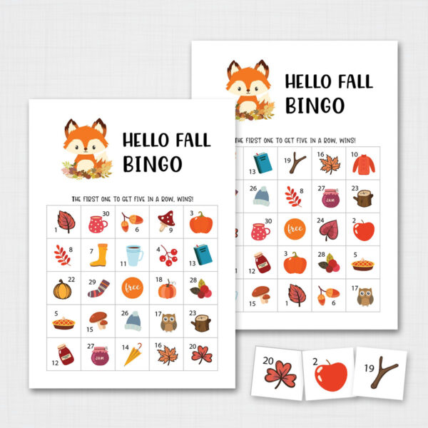 Printable Fall Bingo Game for Kids