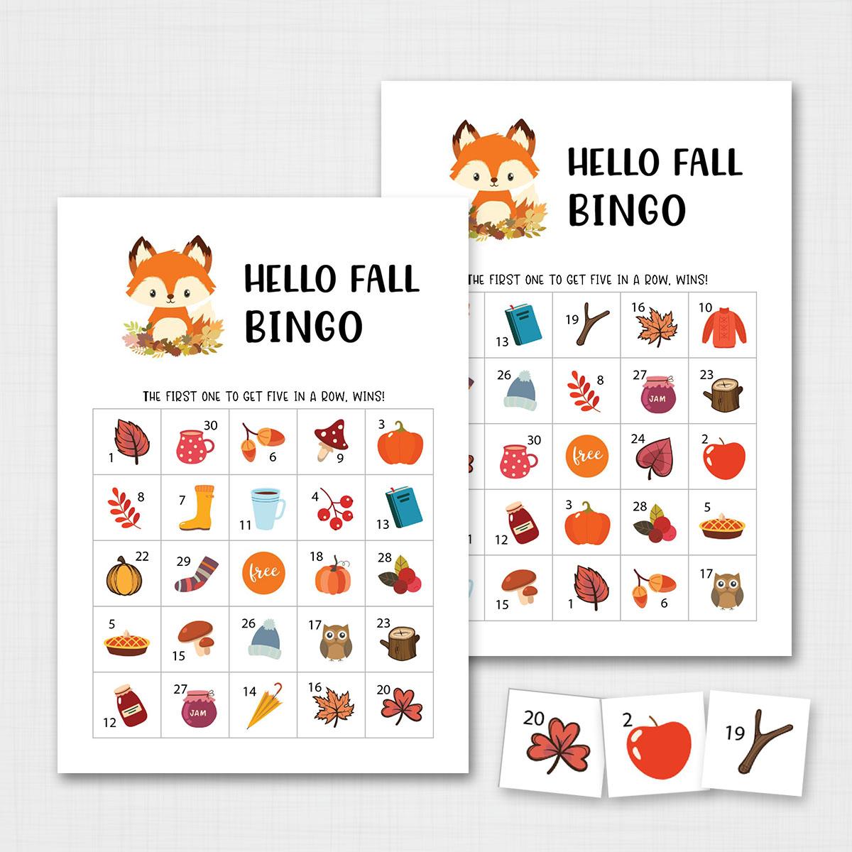 Printable Fall Bingo Game Fall Activities For Kids