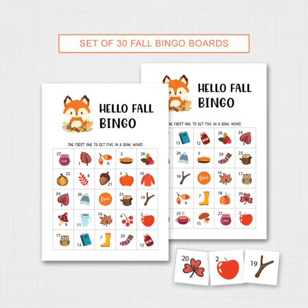 Fall Bingo Game Printable for Kids