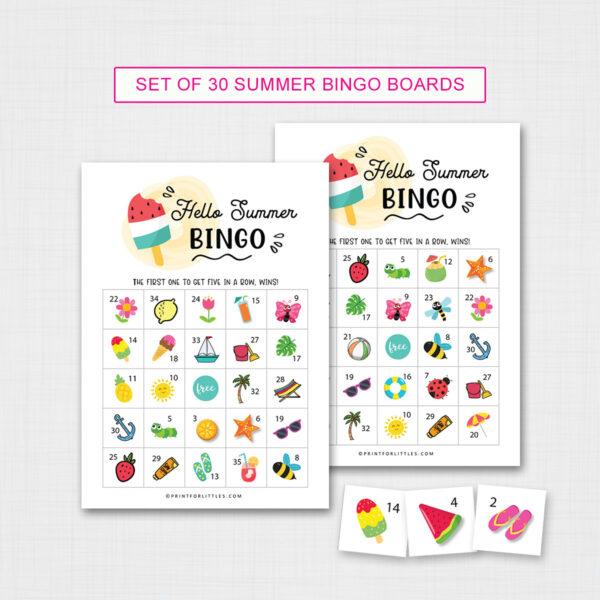 Printable Summer Bingo Game Cards for Kids