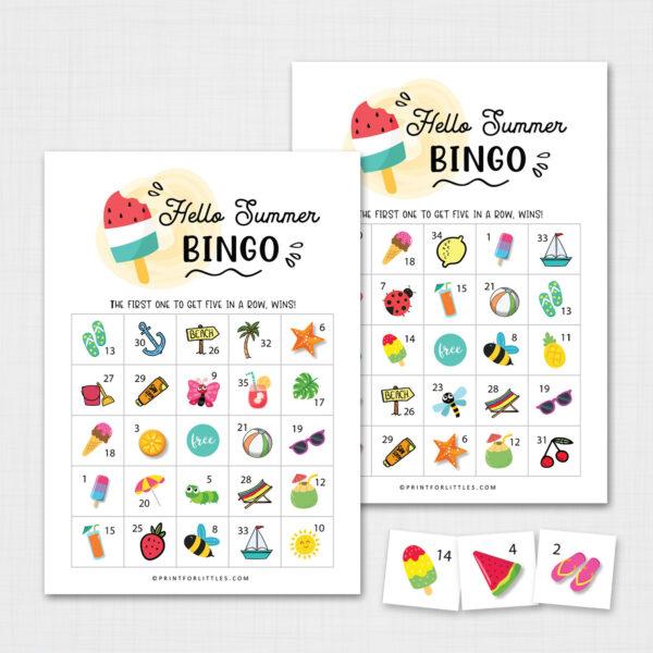 Summer Bingo Game for Kids Printable