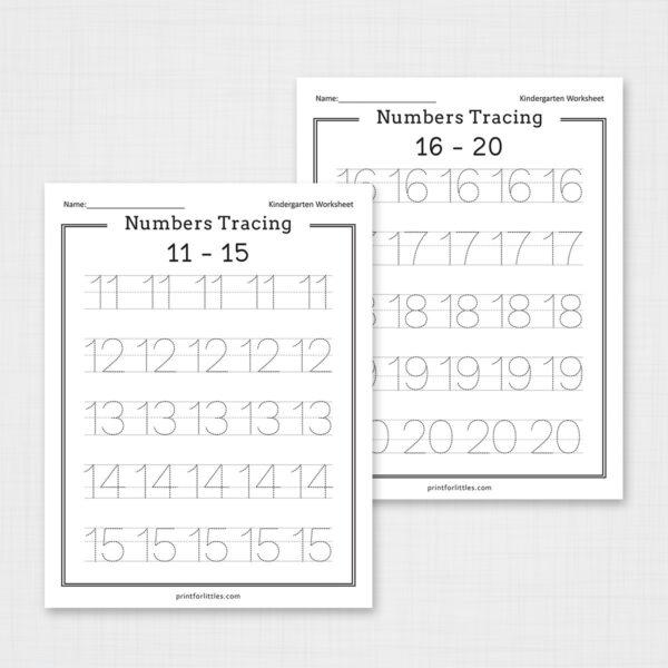 Numbers Tracing Worksheets 1-20 Free Printable
