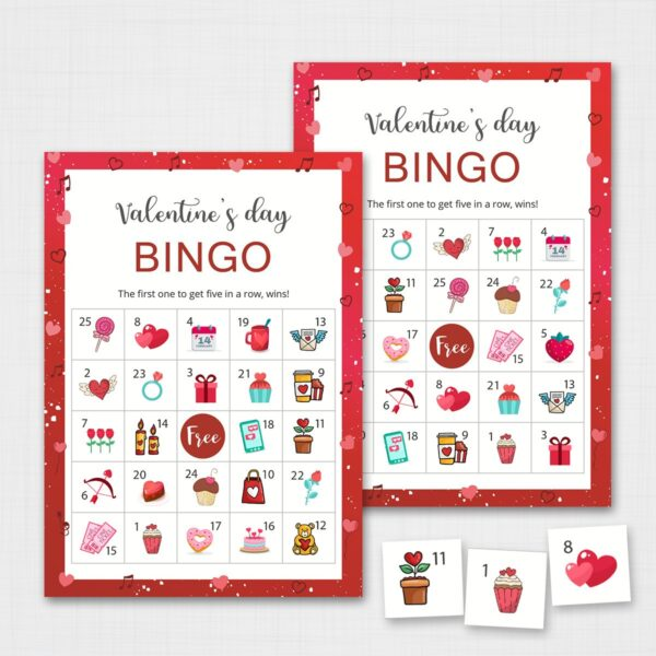 Printable Valentines Bingo Game for Kids