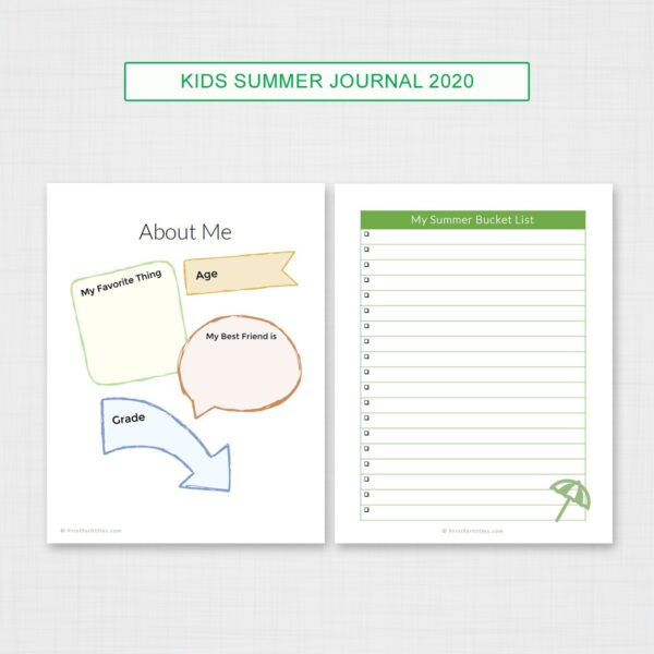 Kids Summer Journal Printable