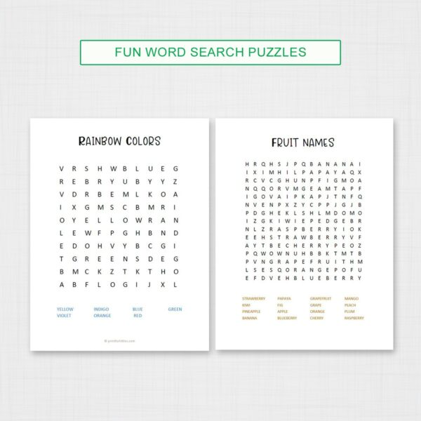 Fun Word Search Game for Summer Journal