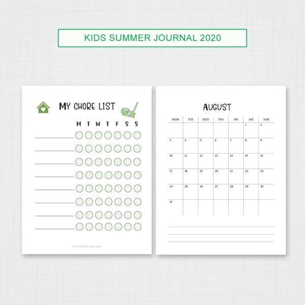 Kids summer journal