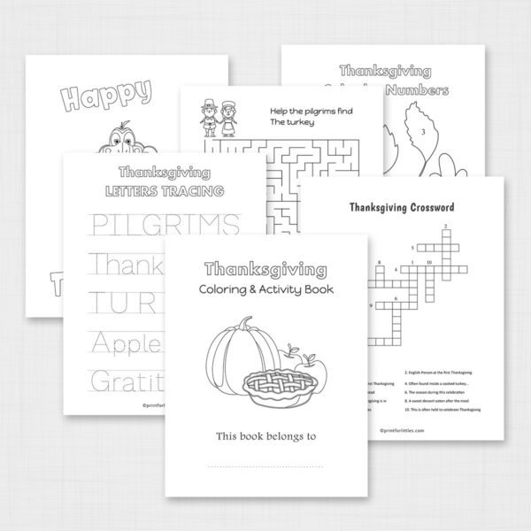 Thanksgiving Coloring and Activity Book Printable