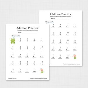 Kindergarten Addition Worksheets Printable