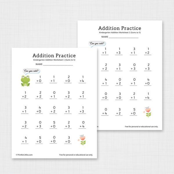 Kindergarten Addition Worksheets Printable