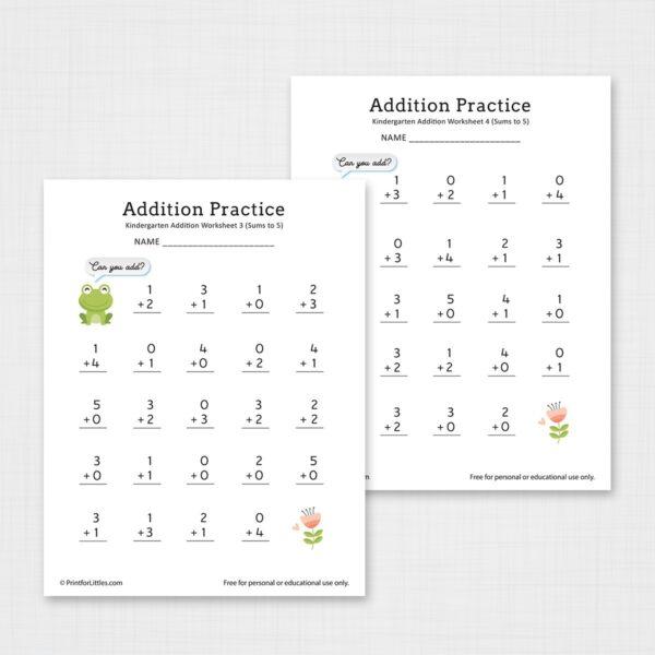 Printable Kindergarten Add the Numbers Worksheets