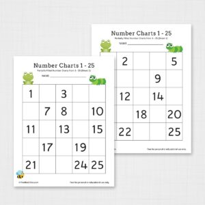 Missing Number Chart 1-25 Worksheets