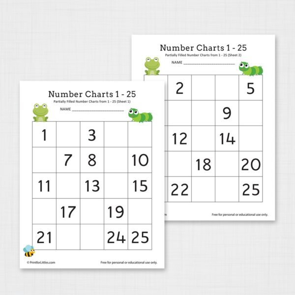 Number Chart 1-25 Worksheet Printable