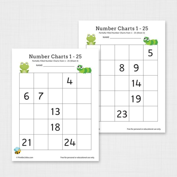 Printable Number Chart 1-25 Worksheet
