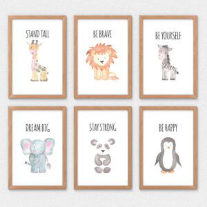 Safari Animals Nursery Decor Wall Art | Set of 6
