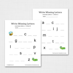 Write Missing Letters a-z Worksheets (Lowercase)