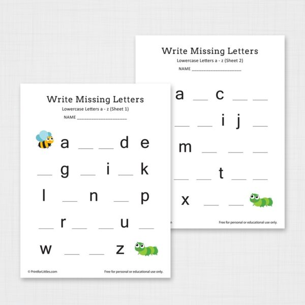 Write Missing Letters a-z Printable Worksheets