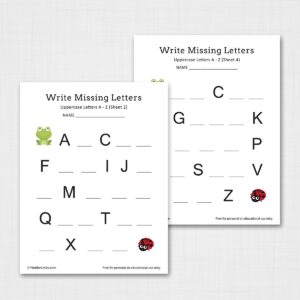 Write Missing Letters A-Z Worksheets (Uppercase)