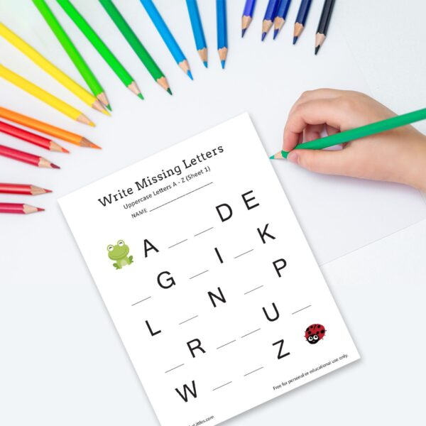 Write Missing Letters A-Z Worksheets