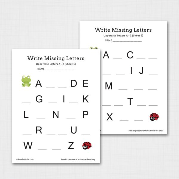 Write Missing Letters Uppercase A-Z Printable Worksheets