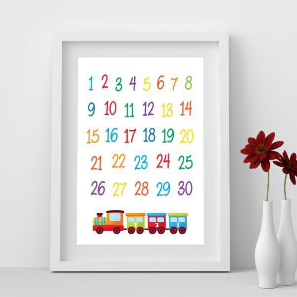 Printable Train Numbers Wall Art Decor