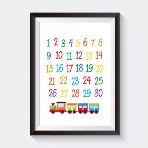 Train Numbers Nursery Wall Art Decor Printable
