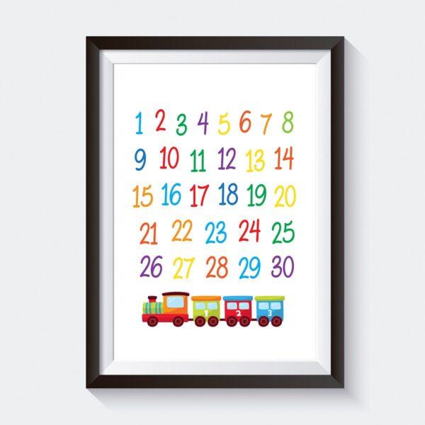 Printable Train Numbers Nursery Wall Art Decor