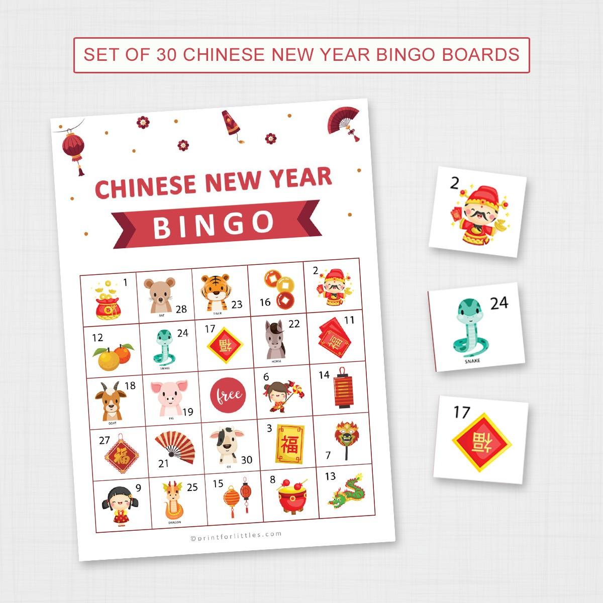 Printable Chinese New Year Bingo Fun Activities For Kids