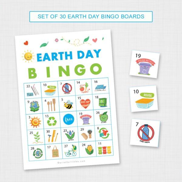 Printable Earth Day Bingo Game Cards
