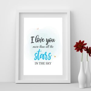 I Love You More than all the Stars Printable Wall Art