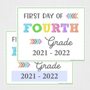 Editable First Day of Fourth Grade Signs