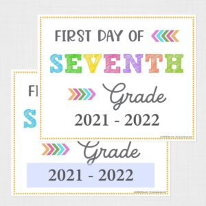Editable First Day of Seventh Grade Signs