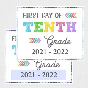 First Day of Tenth Grade Signs (Editable)