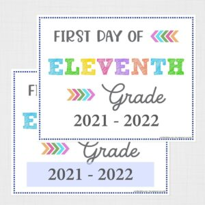 First Day of Eleventh Grade Signs (Editable)