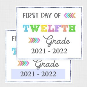 First Day of Twelfth Grade Signs (Editable)
