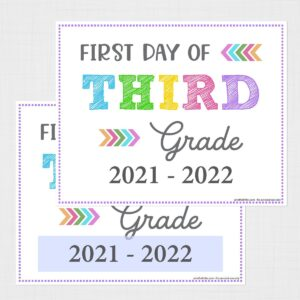 Editable First Day of Third Grade Signs