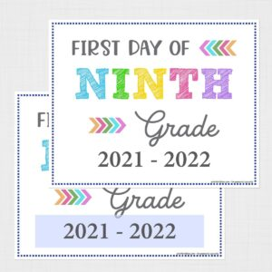 First Day of Ninth Grade Signs (Editable)